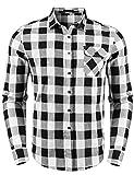 Sykooria Homme Chemise à Carreaux Manches Longues Casual Slim Fit en Flanelle,Noir-blanc,XXL