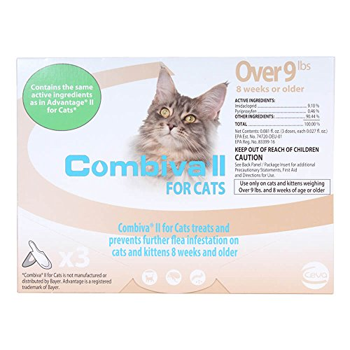 CEVA Animal Health D93120B Combiva II para Gatos Grandes + 9 Libras (Paquete de 3) Gotas para pulgas de Mascotas