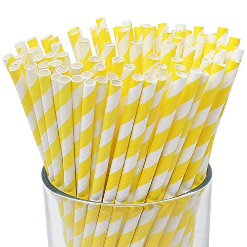 Just Artifacts 100pcs Premium Biodegradable Striped Paper Straws (Striped, Yellow)