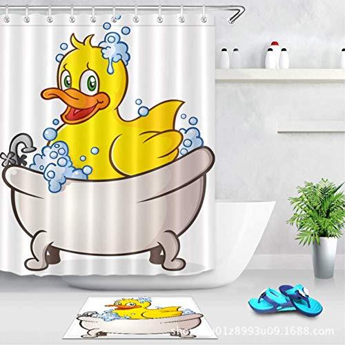 Cortina de ducha impermeable con estampado de diente de león Cortina de baño de tela de poliéster Cortinas de baño para el hogar con 12 ganchos Cortinas de ducha A prueba de moho Patito W180xH200CM