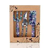 FLORA GUARD Outils de Jardinage en Aluminium de 3 pièces avec imprimé Violet - truelle, Transplanter, sécateur, Ensemble-Cadeau pour Le Jardinage (Violet)
