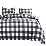 Wake In Cloud - Gray Plaid Comforter Set, Buffalo Check Gingham Geometric Checker Pattern Printed in Grey White, Soft Microfiber Bedding (3pcs, California King Size)