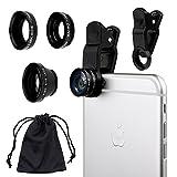 Kit Universale 3 in 1 obiettivi per fotocamere smartphone - include 1 Obiettivo Fisheye / 1 Obiettivo 2 in 1 Macro e Grandangolo / 1 Clip Universale / 1...