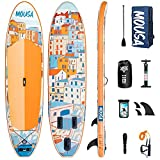 Mousa Inflatable Paddle Board, 11' x 34'' x 6'' Dual Player Paddle Boards for Adults, 3-Fin & Floatable Paddle Non Slip Deck, Waterproof Phone Case, Backpack Yoga ISUP, 20 lbs Super Light SUP Board