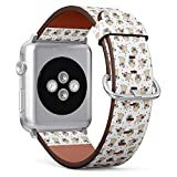 Compatible with Big Apple Watch 42mm & 44mm (Series 5, 4, 3, 2, 1) Leather Watch Wrist Band Strap Bracelet with Stainless Steel Clasp and Adapters (Pugs)