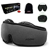 Sleep Mask for Women Men, 3D Contoured Eye Mask for Sleeping with Breathable Memory Foam, 100% Light Blocking Eye Covers with Anti-Slip Adjustable Strap for Travel/Naps, Include Earplugs & Carry Pouch