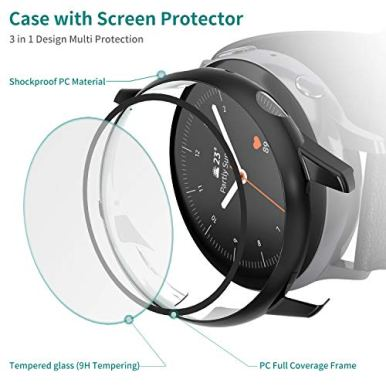 Vitty-Hard-PC-Case-with-Tempered-Glass-Screen-Protector-Compatible-with-Samsung-Galaxy-Active-2-40mm44mm-Electroplated-Case-for-All-Around-Coverage-Protective-Bumpers-Cover-for-Galaxy-Watch-Active-2