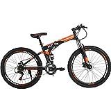 Folding Mountain Bike 21 Speed Full Suspension Bicycle 27.5 inch MTB (Orange)