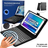 Cooper Touchpad Executive [Multi-Touch Mouse Keyboard] case for 9-11' Tablets   iPadOS, Android, Windows   Bluetooth, Leather, 100hr Battery (Black)