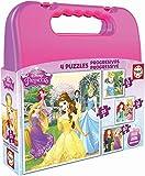Educa- Princesas Disney Maleta Progresivos, puzzle infantil de 12,16,20 y 25 piezas, a partir de 3 años (16508)