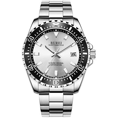 BUREI Uhren Herren Analog Herrenuhr Edelstahl Silber Armbanduhr mit Datum Saphirglas Uhr Wasserdicht Groß(Schwarz)