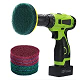 Kichwit 4 Inch Drill Power Brush Tile Scrubber Scouring Pads Cleaning Kit, Includes Drill Attachment, 3 Red Pads and 3 Stiff Green Pads, Heavy Duty Household Cleaning Tool (Drill NOT Included)