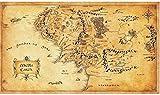 Pintura De La Lona 60x80cm Sin Marco El Señor de los anillos Hobbit mapa de la película de la Tierra Media cartel Retro estilo cartel decoración del hogar pintura
