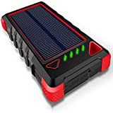 zyr Cargador Solar Portátil, Baterías Externas Ultracompactas De 16000 Mah con Puertos USB Dobles, Banco De Energía Solar con Linterna para Acampar