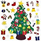 Mazoliy Kids DIY Felt Christmas Tree with 30pcs Set Wall Hanging Detachable Ornaments Xmas Gifts Children Friendly Christmas Home Decorations