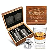 Anniversary Gi fts for Him I Anniversary for Husband - Whiskey Glass Set - 'to My Husband' I Wedding from Wife I Flamed Wood Case, 2 Hand-Cut Crystal Glasses, & Cooling Stones