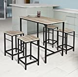 Haotian OGT11-N ,5 Piece Dining Set,Dining Table with 4Stools,Home Kitchen Breakfast Table,Bar Table Set, Bar Table with 4 Bar Stools,Kitchen Counter with Bar Chairs