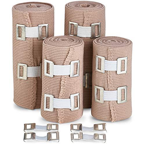 Fascia per Bendaggio di Compressione Elastica - Qualit Superiore (Set da 4) con Ganci, Rotoli per Supporto Adesivo per Sport Atletica per Distorsioni di Caviglia, Polso, Braccio, Gamba