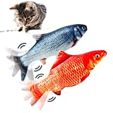 TOOGE Cat Toys for Indoor Cats, 2 Pack Electric Moving Fish Cat Toy 10.5'' Realistic Interactive Flopping Fish Cat Kicker Catnip Toys