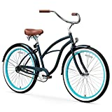 sixthreezero Women's 1-Speed 26-Inch Beach Cruiser Bicycle, Classic Dark Blue w/Brown Seat/Grips
