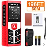 WETOLS Laser Distance Meters, 196ft M/In/Ft Laser Measure with Electronic Angle Sensor and Mute Function, Backlit LCD, for Pythagorean, Distance, Area and Volume Measuring, WE-182