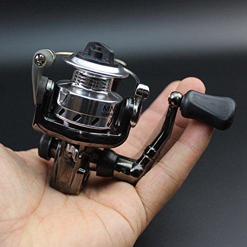 Outop, mini mulinello da pesca in metallo, per pesca al lancio, con impugnatura intercambiabile