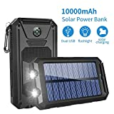 GRDE Solar Charger,10000mAh Solar Power Bank Portable External Backup Battery Pack Dual USB Solar Phone Charger with 2LED Light Carabiner and Compass for iPhone Series, Smartphones(Black)