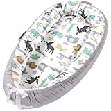 Baby Lounger Baby Nest, Portable Baby Newborn Lounger Bed Pillow, 100% Soft Cotton Breathable Baby Nest Sleeper Bassinet Travel Crib Baby Bed (New Animal)