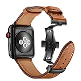 Aottom Compatible for Apple Watch Band 44mm Genuine Leather iWatch Band 42mm Men Women Sport...