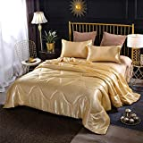 Sisher Gold Queen Comforter Sets,Solid Soft Silky Bedding Quilt, Microfiber Comforter with 2 Matching Pillowcases,Gold