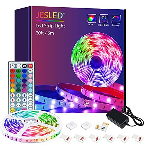 Striscia LED, Strisce LED, JESLED 6m(1*6m) RGB SMD 5050 con 44 Tasti Telecomando, 20 Colori 8 Modalit e 6 Opzioni DIY, Luci Colorate per Decorazioni, Cucina, Bar, Festa