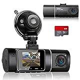 Abask Caméra de Voiture avec 32G Carte SD, 170° Grand Angle Avant et 140° Grand Angle Cabine Full HD Double 1080P Dash Cam, Capteur G, Enregistrement en...
