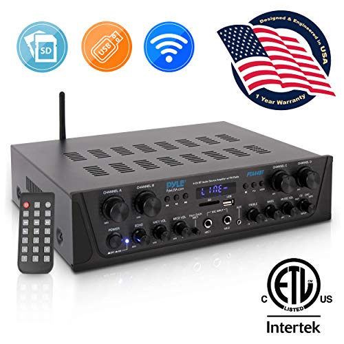 500W Karaoke Wireless Bluetooth Amplifier - 4 Channel Stereo Audio Home Theater Speaker Sound Power Receiver w/AUX in, FM, RCA Subwoofer Speakers Out, USB, Microphone in w/Echo - Pyle PTA44BT.5