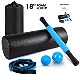 """KeShi Foam Roller Set, 18"""" Muscle Foam Roller, 17"""" Massage Roller Stick, Spiky Massage Ball, Solid Ball, and Stretching Strap, Perfect for Pain & Tightness Relief Home Gym Set"""