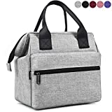 Srise Lunch Bag Insulated Lunch Box, Wide-Open Meal Prep Lunch Tote Bags Durable Nylon Snacks Organizer for Men and Women - Grey