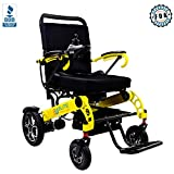 Elite Wheelchair Foldable Electric Power Wheelchair, Heavy Duty, Indoors/Outdoors, Wide Seat, Fits Any Car Trunk, Safe for Air Travel, Cover Bag, Cup Holder and 1 Battery Included, W5521 (Yellow)