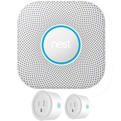 Nest S3003LWES Protect Wired Smoke and Carbon Monoxide Alarm White 2nd Generation Bundle with Deco Gear 2 Pack WiFi Smart Plug