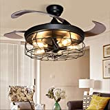 DLLT Ceiling Fan with Lights-42' Industrial Ceiling Fan with Retractable Blades, Vintage Cage Ceiling Light Fixture with Remote for Kitchen, Dining Room, Living Room, 5 E26 Bulbs Not Included, Black