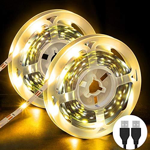 Striscia LED, OMERIL Strisce LED (180 LEDs) con Luce Gialla Calda, Plug 'n' Play, USB alimentata LED Striscia Adatte a Decorazioni, Guardaroba, Salotto, TV, Cucina, Bar, Camera da Letto ecc -6M(2x3m)