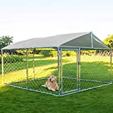 MAGIC UNION Dog Kennel Outdoor Metal Dog Cage Outside Dog Fence Pet Enclosure Fencing with Water-Resistant Cover Roof Backyard Dog Run House (Basic)