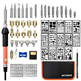Wood Burning Kit Woodburning Tool with Soldering Iron INTLMATE 54 PCS Woodburner Temperature Adjustable with Soldering Iron Set Pyrography Wood Burning Pen,Embossing/Carving/Soldering Tips+16 Stencils