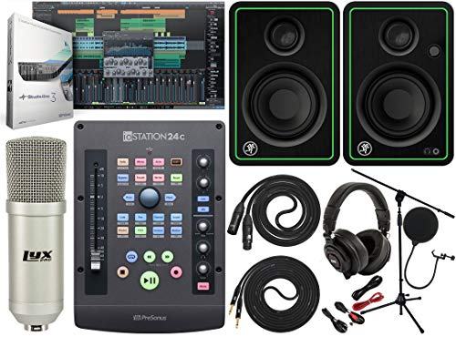 PreSonus ioStation 24c 2x2 USB-C Audio Interface and Production Controller With Mackie CR5-X BT Pair 2-Way Studio Bluetooth Monitors and Professional Microphone Kit