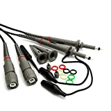 TNP Oscilloscope Clip Probes 100 MHz 10:1 and 1:1 X10/X1 600V Switchable High Sensitivity with Mini Alligator Clip and Ground Lead Replacement Accessory Kit for Rigol Atten Owon Siglent