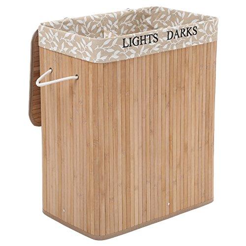 SONGMICS Wäschekorb aus Bambus, Wäschesammler mit 2 Fächern, Wäschesortierer mit Deckel und herausnehmbarem Wäschesack, Tragegriffe aus Baumwolle, 100 L Wäschebox, naturfarben, LCB62Y
