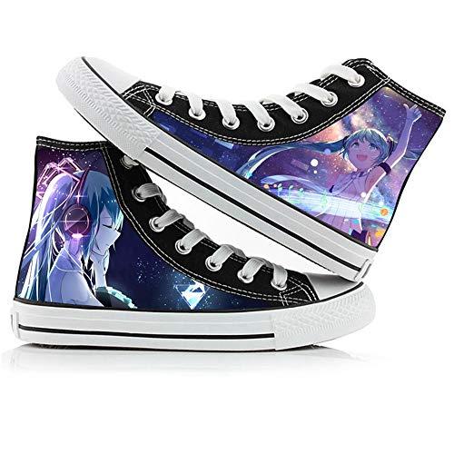NIEWEI-YI Alpargatas Altas Hatsune Miku Anime Zapatos De Lona Hombres Mujeres Zapatos Casuales Zapatos De Viaje Al Aire Libre,36 EU
