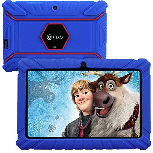 Contixo V8-2 7 inch Kids Tablets - Tablet for Kids with Parental Control - Android Tablet 16 GB HD Display Durable Case & Screen Protector WiFi Camera-Learning Toys for, Dark Blue