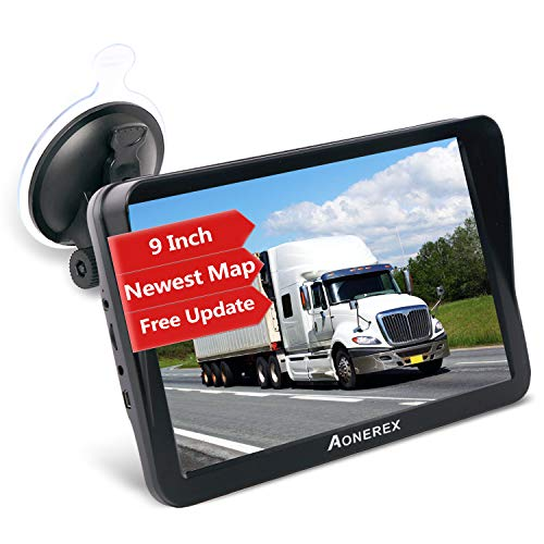 Sat Nav, Aonerex 9 Inch GPS Navigation System Pre-Installed Newest UK Europe Maps with Lifetime Free Map Updates for Car Truck Lorry Motorhome POI Search, Speed Camera Alerts and Lane Assistance