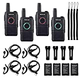 Retevis RT18 Rechargeable Walkie-Talkies for Adults,Mini 2 Way Radio with Headset,Dual PTT,Hands Free,Metal Clip,for Family Small Business(4 Pack)