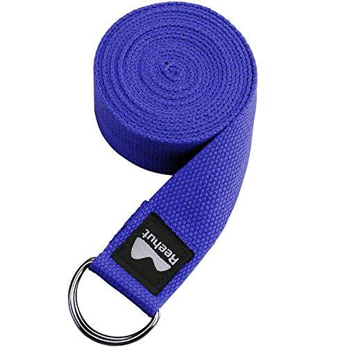 REEHUT Correa para Yoga - Cinturón con Hebilla Metal D-Anillos de...