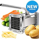 [New Upgraded] French Fry Cutter, LEOBRO Stainless Steel Potato Chipper Cutter With Sharper 1/2 Inch Blade & A Strong Suction Rubber Pad, Great for Potatoes, Carrots, Cucumbers